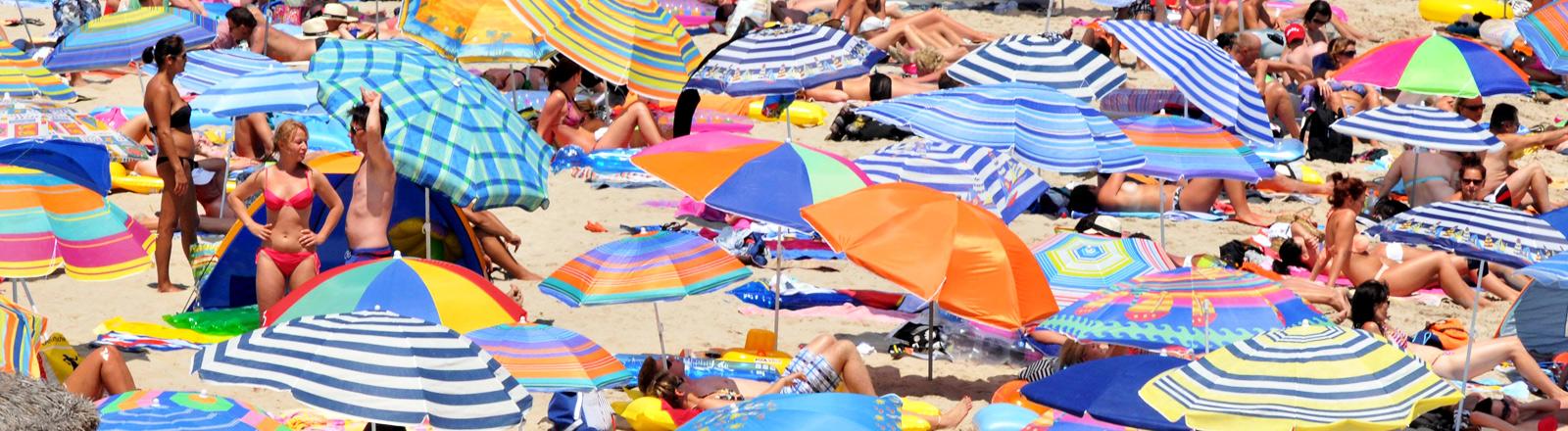 Unzählige Urlauber tummeln sich mit Sonnenschirmen und Strandliegen auf der Insel Mallorca