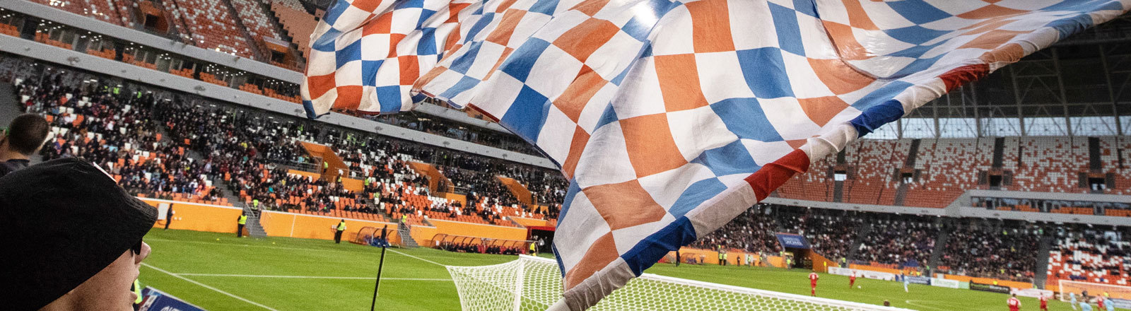 Fan im Stadion von Saransk in der Mordwinien-Arena
