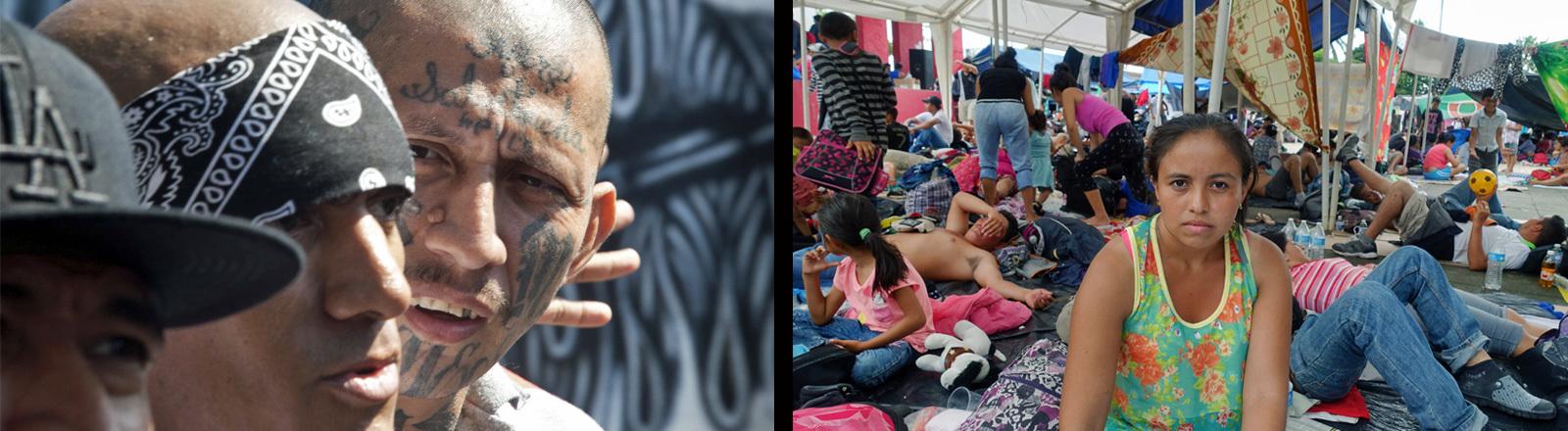 Jugendbandenmitglieder der Mara in El Salvador und geflüchtete in einem Auffanglager, die vor den Maras geflohen sind.