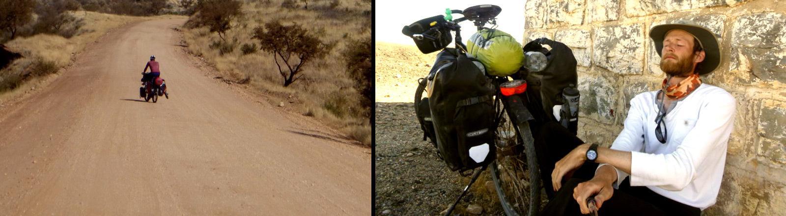 Daniel Kassner auf und neben seinem Fahrrad in Afrika