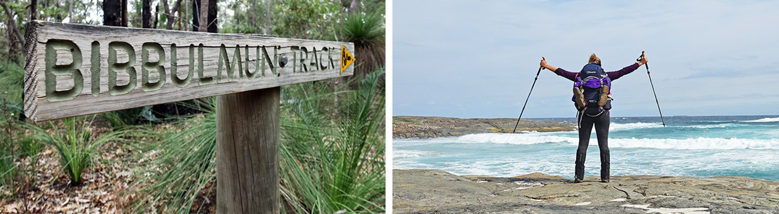 """Collage zweier Bilder: Ein Wegweiser im Wald mit der Aufschrift """"Bibbulmun Track"""" und Kathrin Heckman von hinten vor der Küste, die Arme mit den Wanderstöcken in der Hand reckt sie in die Luft."""