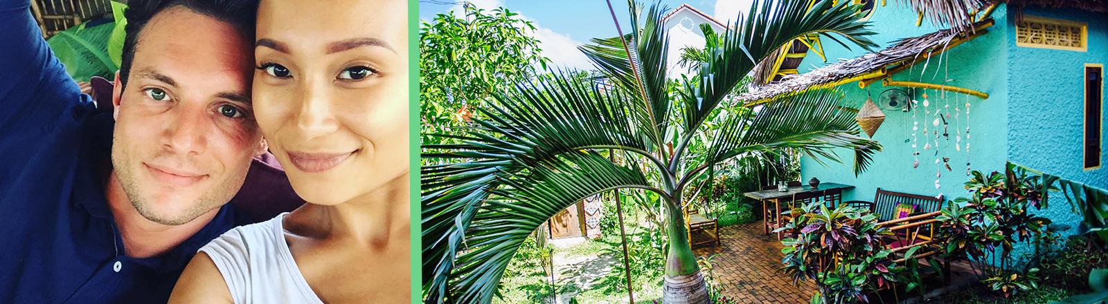Collage aus zwei Fotos: Links sind Kim-Loan Nguyễn und Michael Kredics zu sehen; rechts zeigt den Blick auf ihr Hostel und den Garten mit Palme