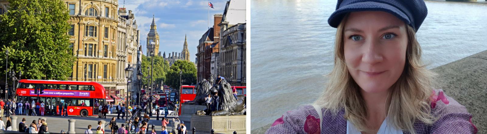Am Trafalgar Square in London sieht man im Hintergrund den Big Ben.