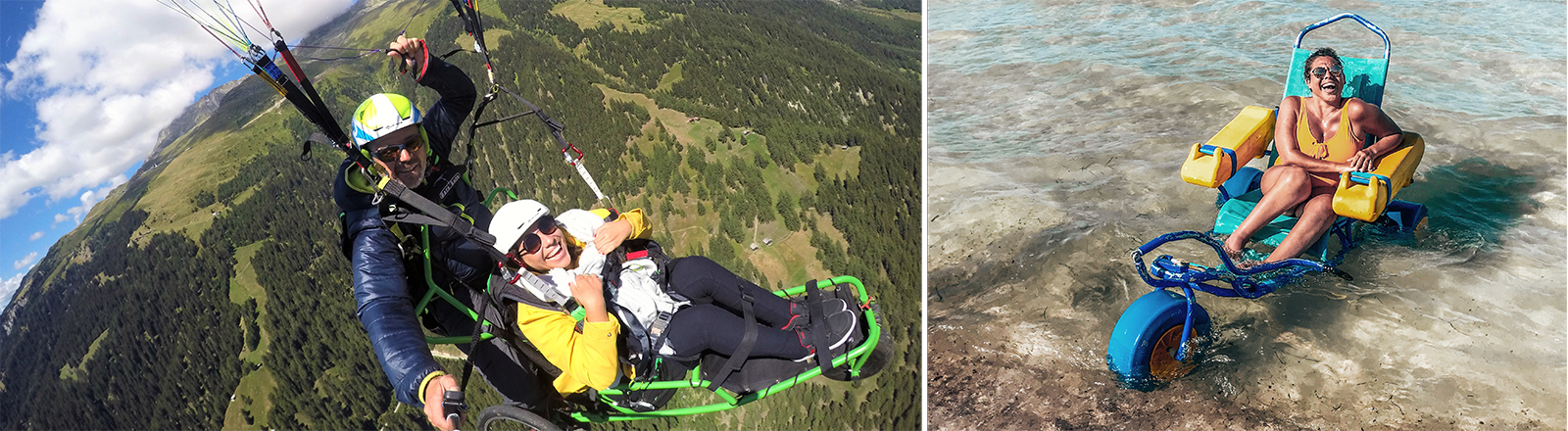 Kim Lumelius beim Drachenfliegen und mit einem Rollstuhl im Meer badend.