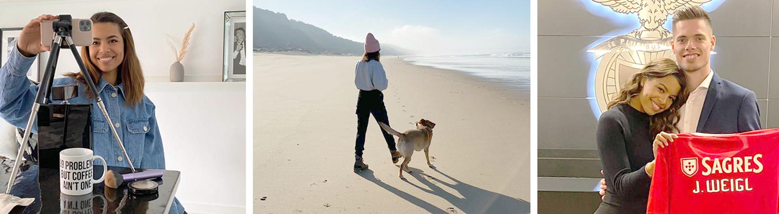 Drei Bilder der Moderatorin und Spielerfrau Sarah Richmond: beim Selfie-Machen, mit Hund am Strand, mit ihrem Verlobtem, dem Fußballprofi Julian Weigl