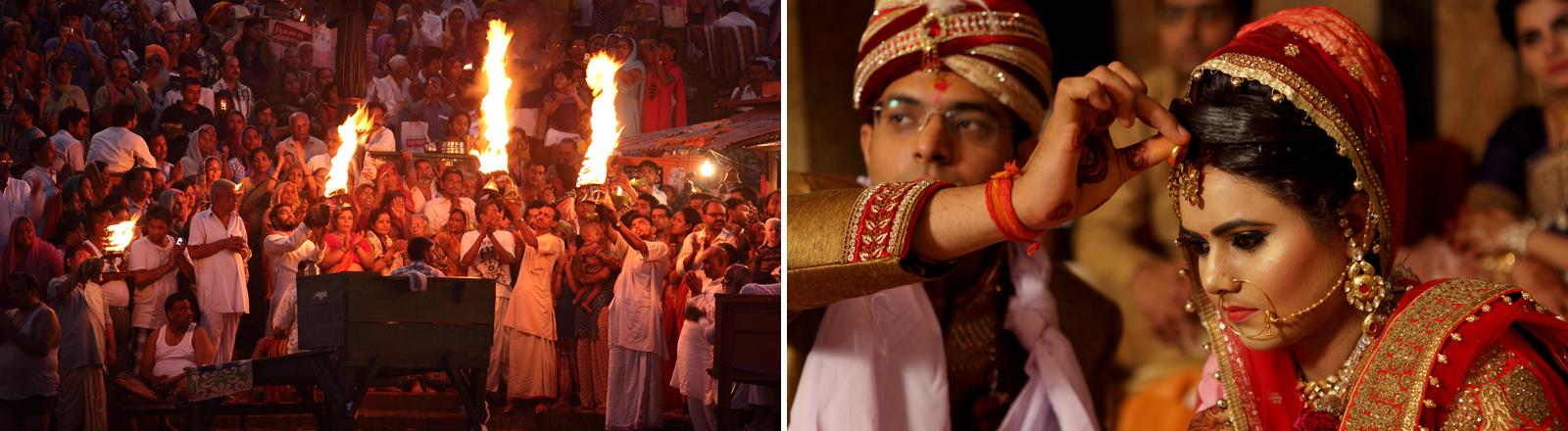 Ein indisches Hochzeitszeremeoniell und eine indische Braut in Hochzeitstracht