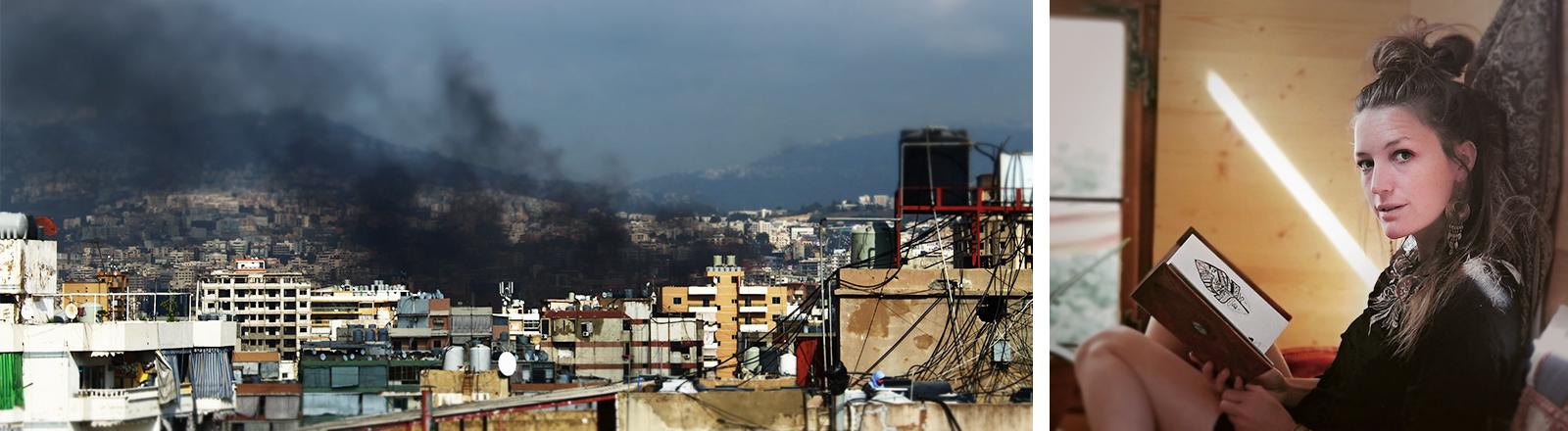 Links: Schwarzer Rauch über Beirut, rechts: Geraldine Schüle im Zirkuswagen