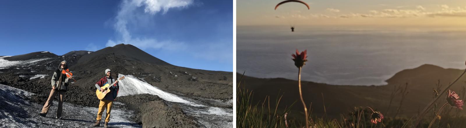 Musik auf dem Vulkan: Anka Slavik und René Huber unterhalb des Ätnagipfels und ein vorbeifliegender Paraglider