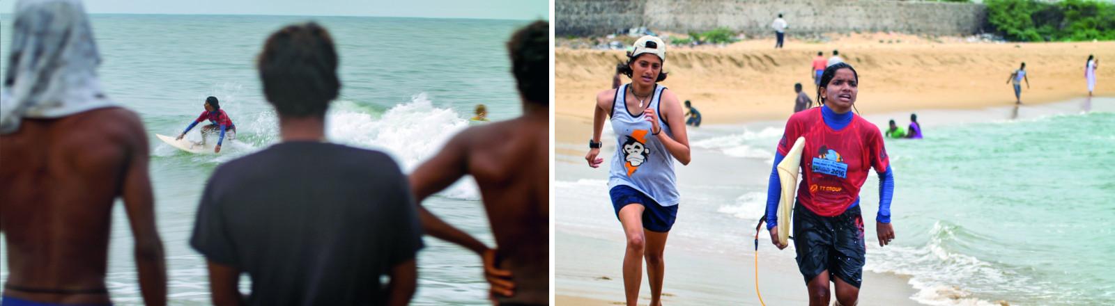 Indien: Frau auf dem Surfbrett, Männer schauen zu. / Zwei junge Surferinnen laufen am Strand. (Collage DLF Nova)