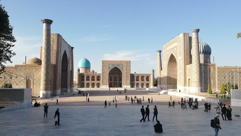 Der Registan im usbekischen Samarkand zählt als einer der prächtigsten Plätze Zentralasiens.