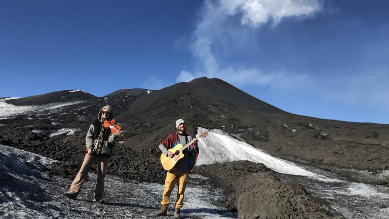 Musik auf dem Vulkan: Anka Slavik und René Huber unterhalb des Ätnagipfels
