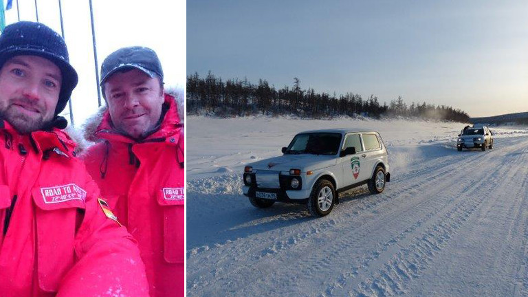 Thomas von Hassel und Kolja Spöri mit dem Lada unterwegs in Sibirien