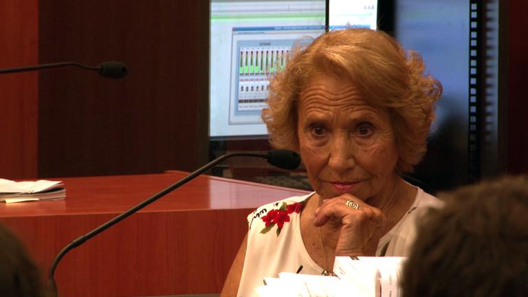 Hilarios Großmutter Coqui, die ihn mehr als 30 Jahre lang gesucht hat, bei einer Aussage vor Gericht.