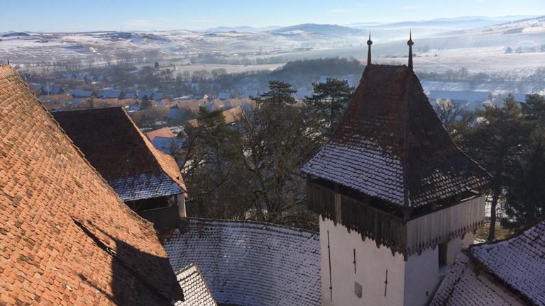 Der Ausblick von Schloss Bran auf Transsilvanien.