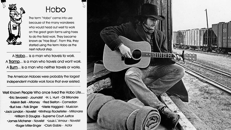 Eine Tafel im Foyer des National Hobo Museums und ein Gitarre spielender Hobo auf einem Güterzug.