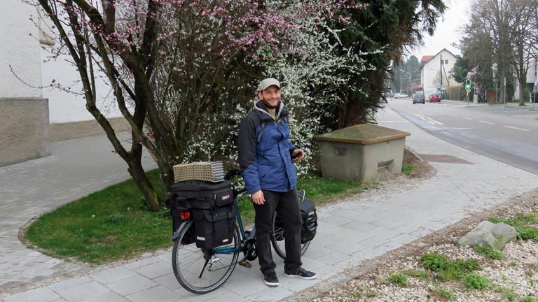 Christian Küpers zu Beginn seiner Reise, noch in Deutschland