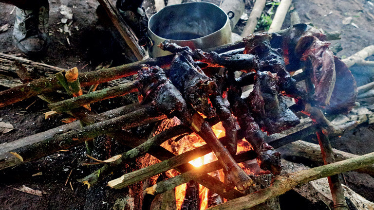 Tenharim-Krieger Mahlzeit im Wald.