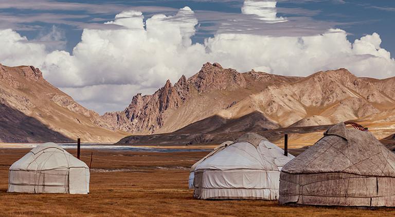 Jurten, traditionelle Zelt der Nomaden in Zentralasien