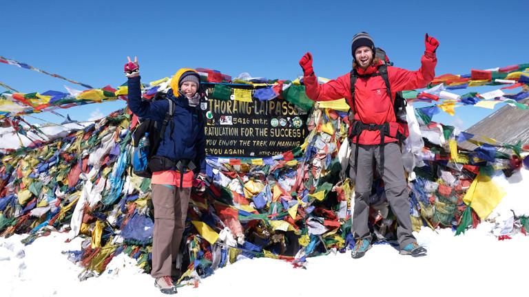 Leo und Sebastian auf dem Thorung La Pass 5416 Metern hoch