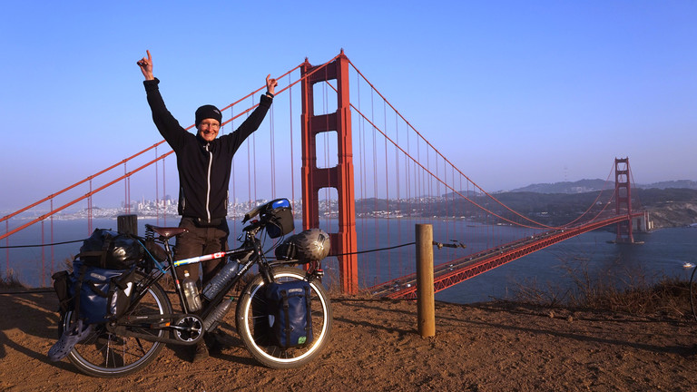 100 Tage und 6000 Kilometer nach dem Start in Alaska: Die Golden Gate Bridge in San Francisco.