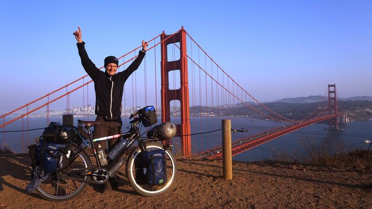 100 Tage und 6000 Kilometer nach dem Start in Alaska: Die Golden Gate Bridge in San Francisco.