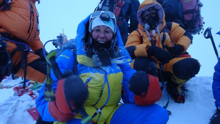 Auf dem Gipfel des Mount Everest.