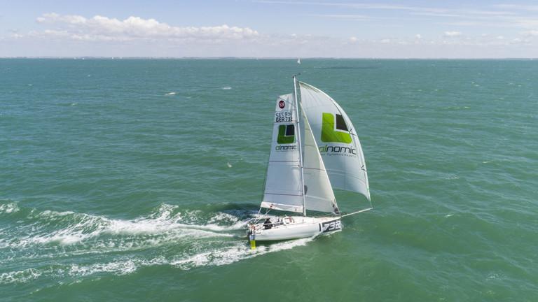 Das Boot von Lina Rixgens mit einer Drohne fotografiert.