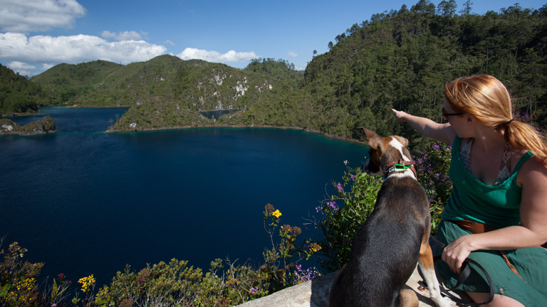 Frau mit einem Hund an einem See