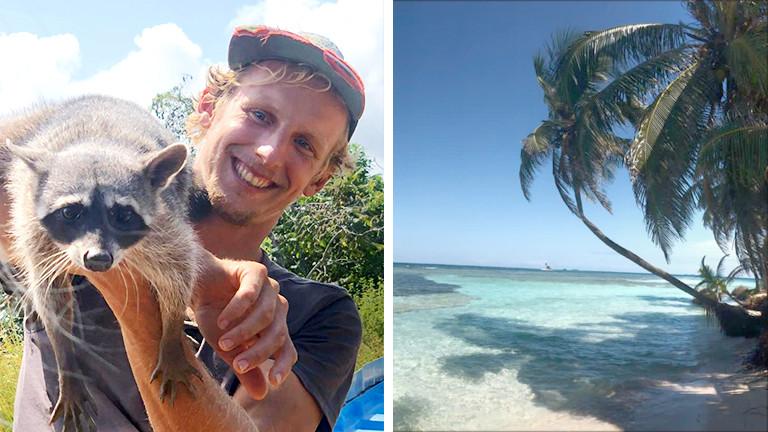 Links: Nikolaus Magnus mit einem Waschbär, rechts: ein Strand auf Nikolaus Magnus' Insel
