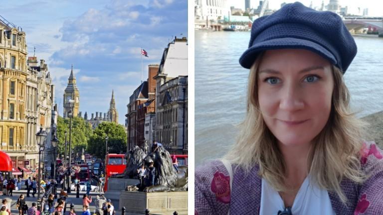 Der Trafalgar Square und Eva Kirch in ihrer Wahlheimat London.