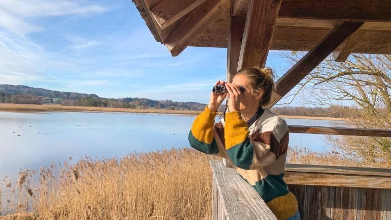Die Autorin Franziska Consolati auf Vogelsafari am Chiemsee