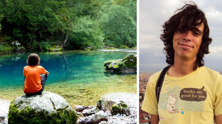 Collage: Ein Porträt von Ricardo Fahrig und ein Landschaftsbild an einem See, an dem Ricardo Fahrig auf einem Stein sitzt.