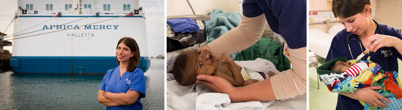 """Die Kinderkrankenschwester Sandra Schimek vor dem Hospitalschiff """"Africa Mercy"""" und bei der Behandlung von Kindern"""