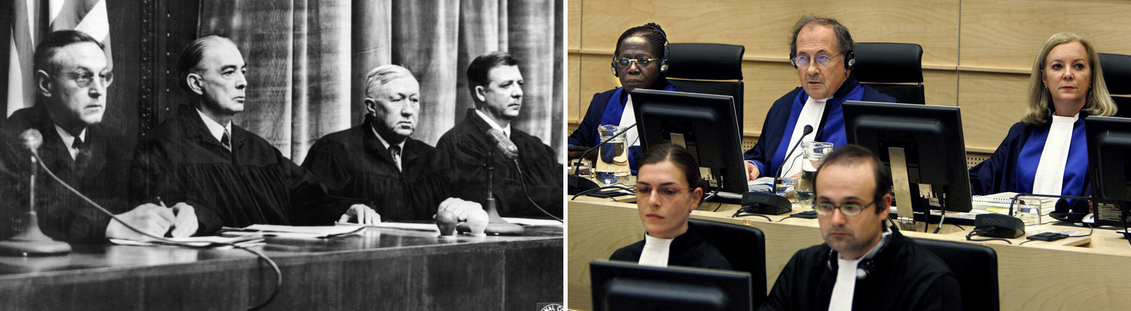 Rechts: International Criminal Court (ICC) judges Akua Kuenyehia (L, Ghana), Claude Jorda (C, France) and Sylvia Steiner (R, Brasil) attend the initial appearance of Congolese militia leader Thomas Lubanga, at the ICC in The Hague, Monday 20 March 2006. Links: Die Richterbank (l-r): Harold L. Sebring, Gerichtspräsident Walter B. Beals, Johnson Tal Crawford und Victor C. Swearingen. Im grossen Schwurgerichtssaal von Nürnberg begann am 21. November 1946 unter Vorsitz des Gerichtspräsidenten Walter B. Beals der Prozeß gegen 23 Nazi-Ärzte und Wissenschaftl...