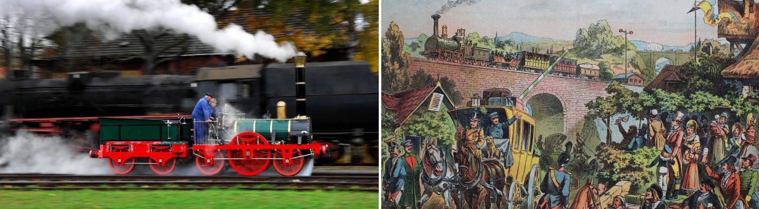 Testfahrt eines Nachbaus der Adler-Lokomotive im Jahr 2007 und Grafik der ersten Fahrt aus den 1880er Jahren