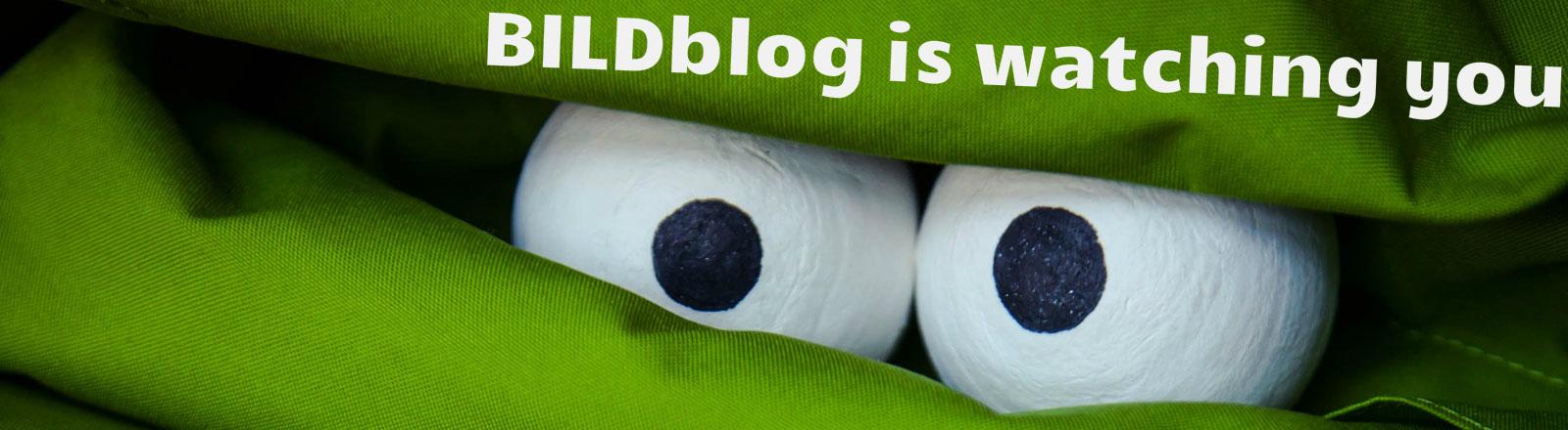 Zwei Augen, darüber steht: Bildblog is watching you
