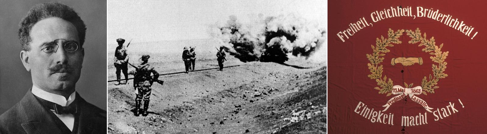 Montage: Karl Liebknecht, deutsche Soldaten im Ersten Weltkrieg und die historische Breslauer Lasalle-Flagge.