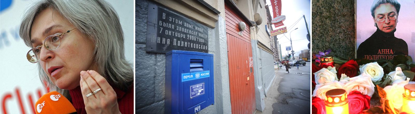 Collage: Anna Politkowskaja 2005, Ort des Attentats vor ihrer Haustüre, Gedenkkerzen und Blumen.