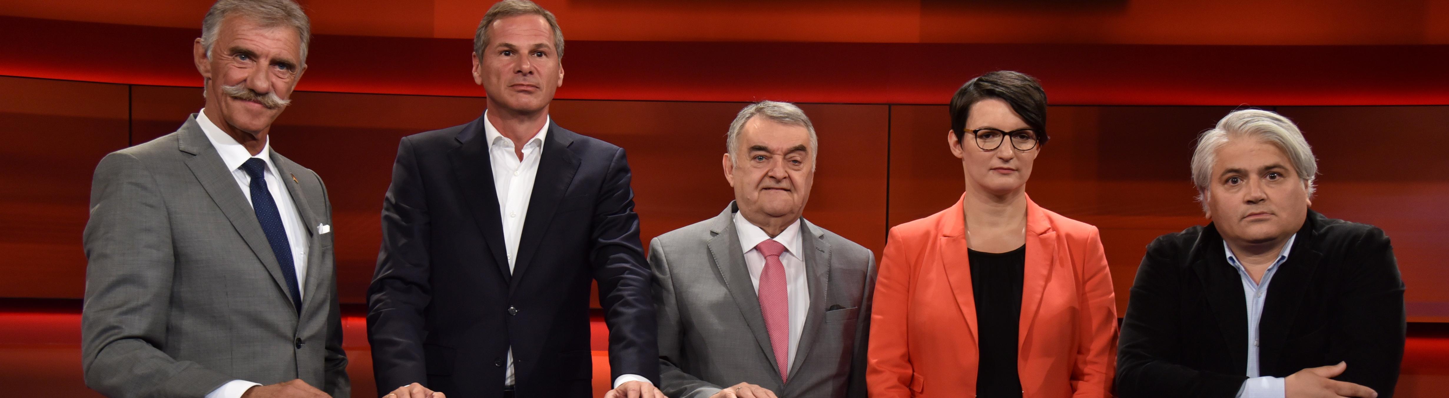 "Talkshow ""Hart aber Fair"" am 1.7.2019 mit AfD-Politiker Uwe Jung,  Georg Mascolo, Herbert Reul, Irene Mihalic und Mehmet Daimagüler"