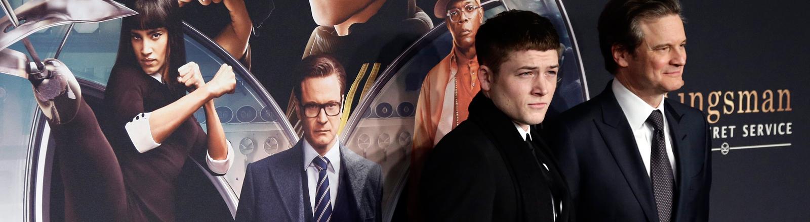 """Colin Firth und Taron Egerton bei einem Pressevent zum Film """"The Kingsman"""" am 09.02.2015."""