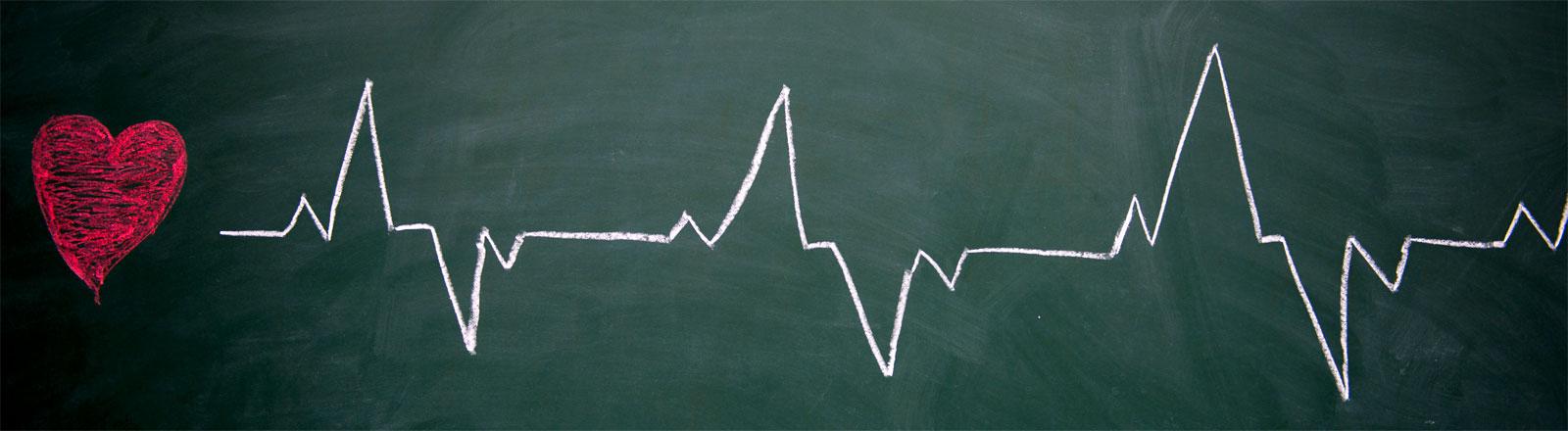 Ein Herz und eine Sinuskurve aus Kreide an einer grünen Schultafel.