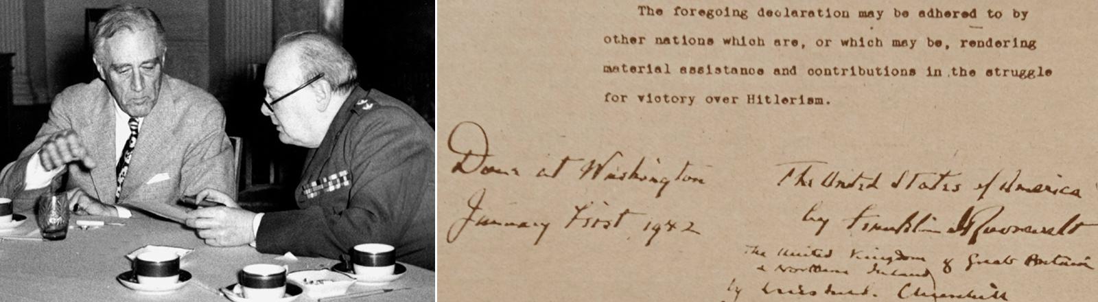 Der amerikanische Präsident Franklin D. Roosevelt (l) und der britische Premierminister Winston Churchill (r) während einer Unterhaltung am Konferenztisch. Rechts zu sehen, eine Kopie der Deklaration der Vereinten Nationen.
