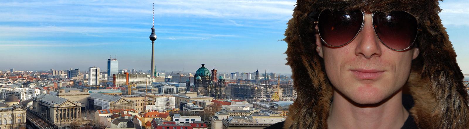 Kristjan Knall vor der Kulisse Berlin.