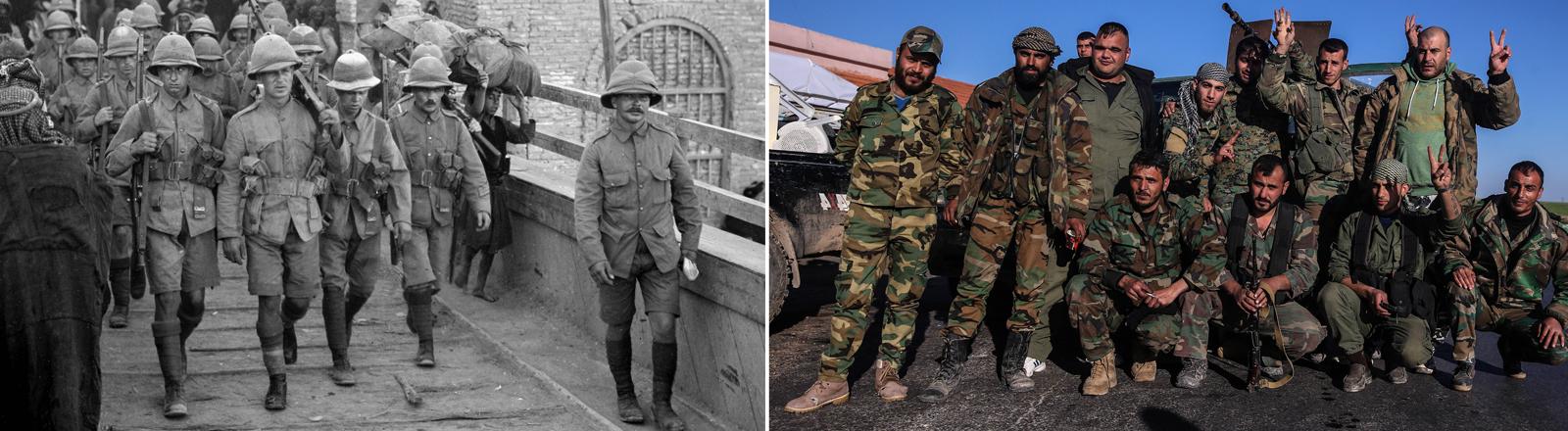 Britische Soldaten 1916 und syrische Soldaten 2016.