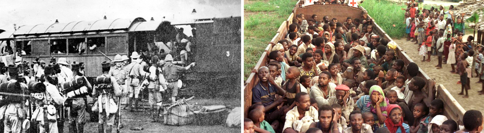 Deutsche Armee in Ostafrika während dem 1. Weltkrieg. Ruandische Flüchtlinge 1997