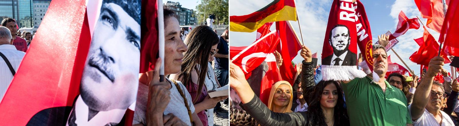 Menschen bei Demonstrationen mit einer Fahne von Kemal Atatürk und einem Fanschal von Recep Tayyip Erdogan