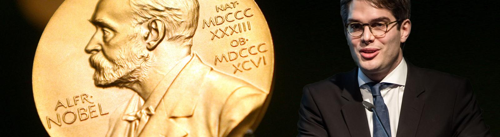 Medizinhistoriker Nils Hansson vor der Nobelpreis-Medaille.