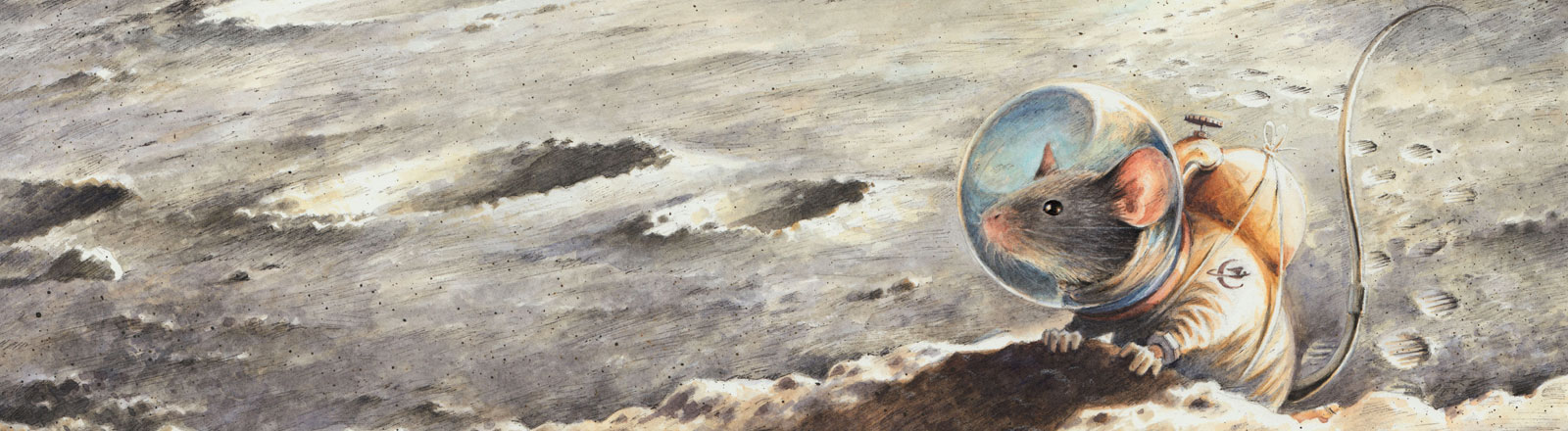 Zeichnung einer Maus im Raumanzug auf dem Mond