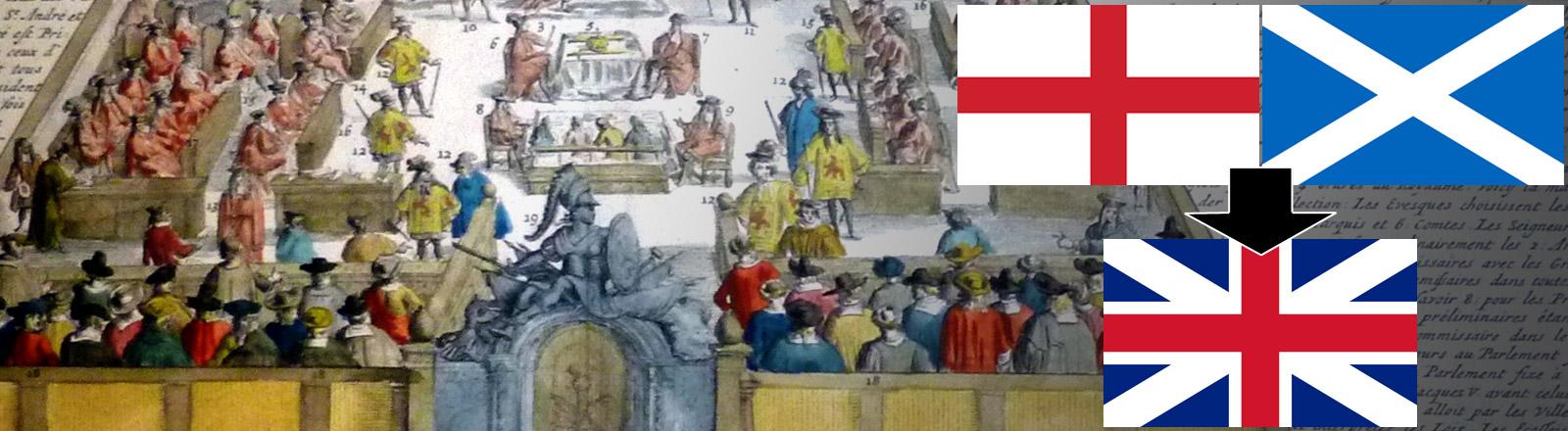 Ein Bild der schottischen Parlaments aus 1707, davor die schottische, englische und alte britische Flagge ohne Wales