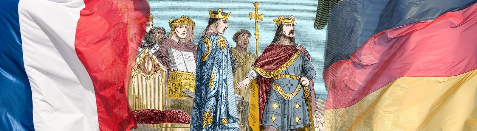Die Unterzeichnung der Straßburger Eide am 14. Februar 842.